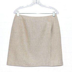 LIZ SPORT Wrap Front Skirt Linen Cotton Blend